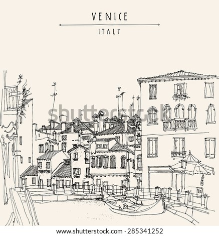 Vector artistic freehand illustration postcard with a touristic city view of Canareggio, Venice, Italy, Europe with gondola in retro colors. Vintage postcard greeting card graphic design template.