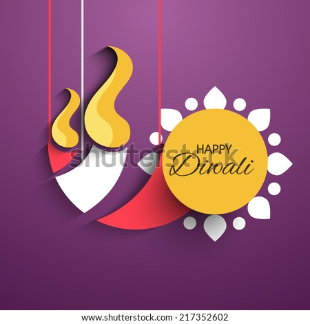 Vector artistic hanging diya for Diwali Festival. - stock vector