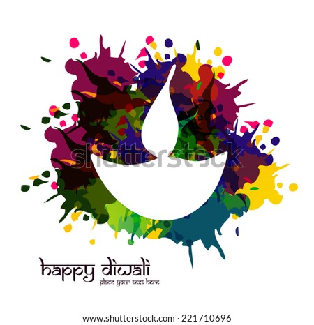 vector artistic happy Diwali diya colorful for Indian festival design  - stock vector