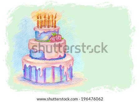 Vector artistic pastel hand-drawn birthday cake with cream and candles - horizontal background - stock vector