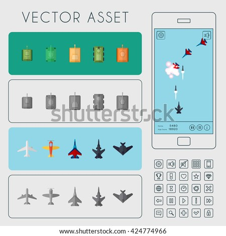 Vector asset for arcade game interface. Combat aircrafts and tanks