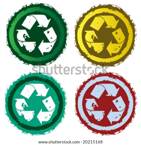 vector assorted recycle labels - stock vector