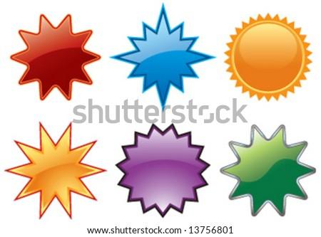 Vector assortment of glassy burst symbols - stock vector