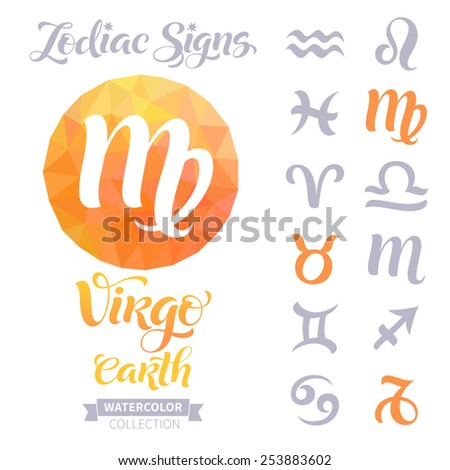 Vector astrology illustrations of the zodiac signs with geometric elements. Calligraphic inscription: Virgo, Earth - stock vector