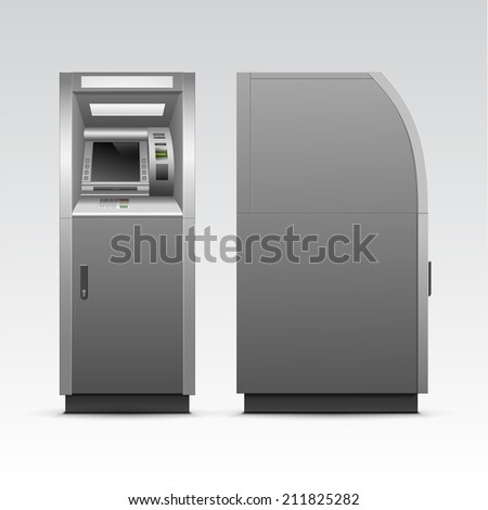 Vector ATM Bank Cash Machine Isolated on Background - stock vector