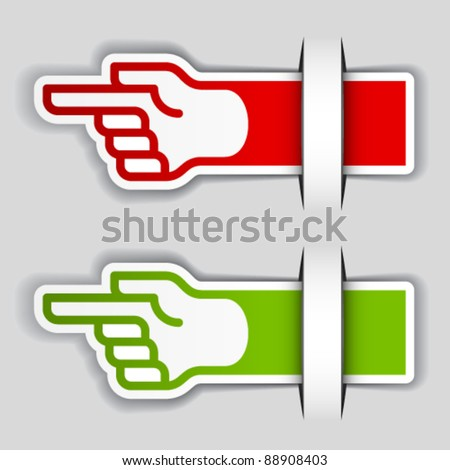 vector attached pointing hand labels - stock vector