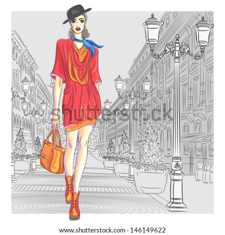 Vector Attractive fashion girl in hat with bag in sketch-style goes for St. Petersburg - stock vector