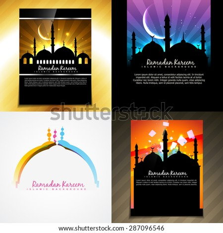 vector attractive set of brochure of ramadan festival illustration - stock vector