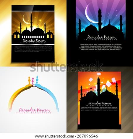 vector attractive set of brochure of ramadan festival illustration - stock vector