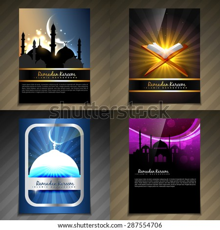 vector attractive set of brochure of ramadan kareem festival illustration with flyer and template design - stock vector
