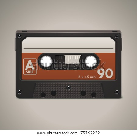 Vector audio cassette tape XXL icon - stock vector