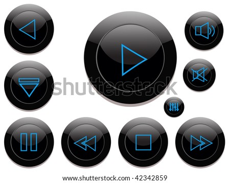 vector audio- video control buttons - in black