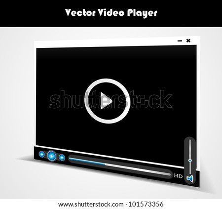 Vector audio video player for web - stock vector