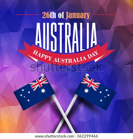 Vector Australia Day Concept Low Poly Background on Realistic Australia Flag Design - stock vector