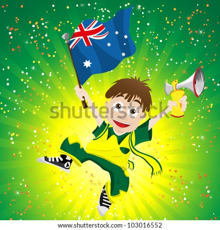 Vector - Australia Sport Fan with Flag and Horn - stock vector