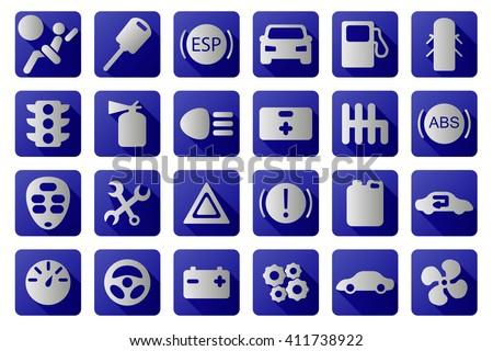 Vector auto icons set. - stock vector