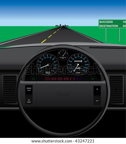Vector automobile dashboard illustration. Windshield view easily replaceable in vector. Makes heavy use of gradients, and a few meshes. - stock vector