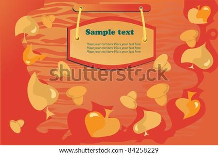 vector autumn background, orange,yellow leaf fall, mushroom - stock vector