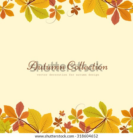 Vector autumn background, seamless border ornament with colorful chestnut leaves, yellow autumn leaves, seasonal background  - stock vector