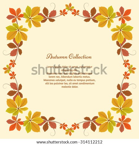 Vector autumn background, square frame with yellow chestnut leaves, autumn leaves, seasonal background - stock vector
