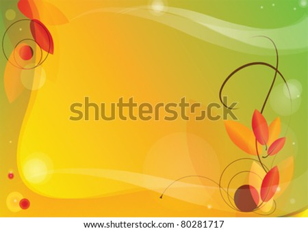 vector autumn background with autumn leaves and curls - stock vector