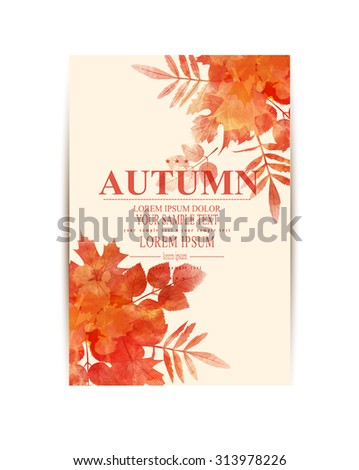 Vector autumn background with orange leaves (imitation of watercolors) - stock vector