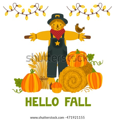 "Vector autumn background with pumpkins, hay bale, wheat sheaf, scarecrow and text ""Hello fall"". Bright autumn invitation template. Harvest festival card."