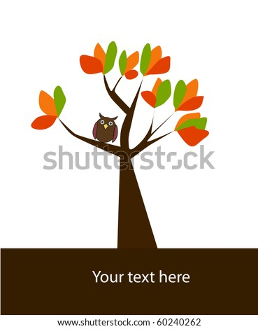 vector autumn background with tree. - stock vector