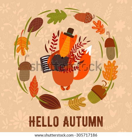 """Vector autumn card with wreath from leaves and acorns. Vintage autumn card with cute fox and text """"Hello autumn"""". -stock vector - stock vector"""