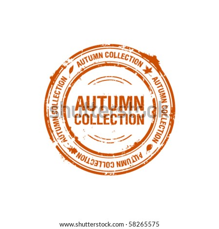 vector autumn collection stamp - stock vector