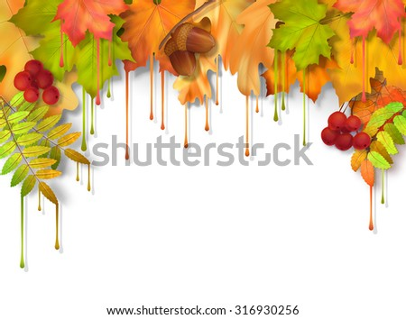 Vector autumn fall leaves with dripping paint, artistic border design on a white background - stock vector