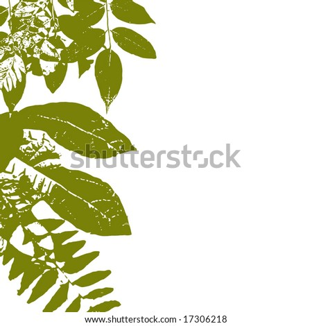Vector Autumn Green Grunge Leaves With White Copyspace, See Jpeg Also In My Portfolio - stock vector