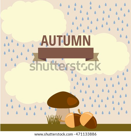 vector autumn illustration of mushroom in the rain and under the small clouds in the woods, in nature
