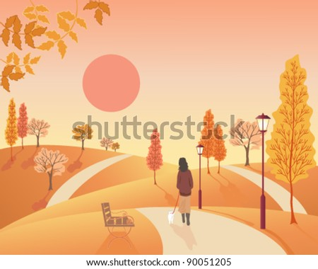 vector autumn landscape  illustration in eps 10 format of a woman walking a small dog through a park full of deciduous trees in fall colors - stock vector