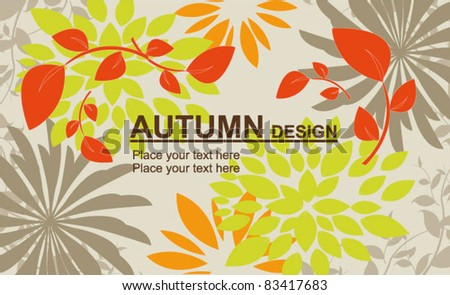 Vector autumn leaves falling  on floral background
