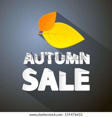Vector Autumn Sale Theme With Leaves on Dark Background