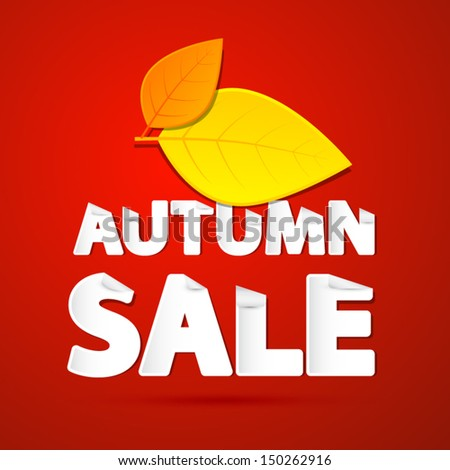 Vector Autumn Sale Theme With Leaves on Red Background