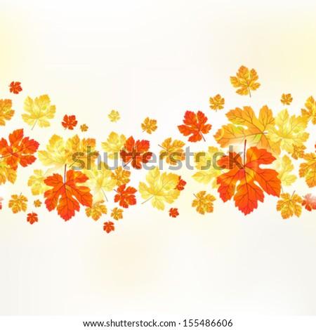 Vector autumn seamless ornament maple leaves. - stock vector