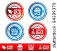 Vector autumn, winter, Christmas sale stickers - stock vector