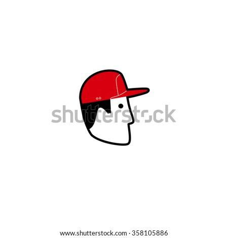 Vector avatar, portrait, icon of American man in baseball cap. Isolated white background - stock vector