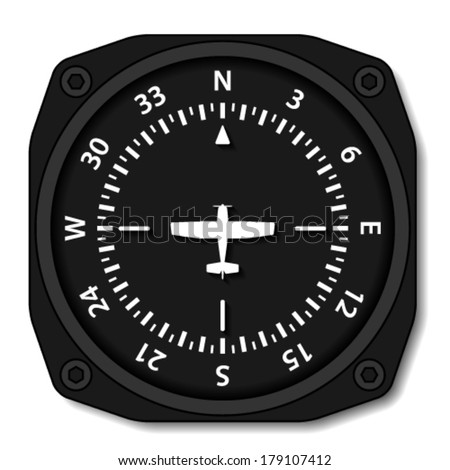 vector aviation aircraft compass turns - stock vector