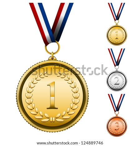 Vector Award Medals Set isolated on white - stock vector