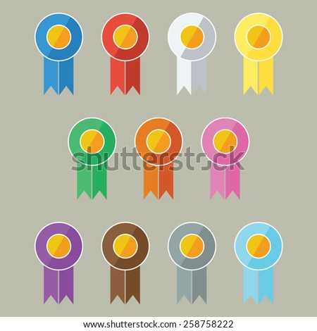 Vector Award/Prize Ribbons In Flat UI Design Style (The standard ribbon colors for international competitions.) - stock vector