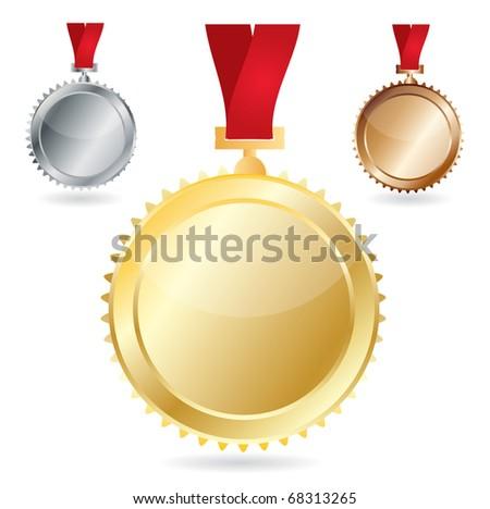 Vector awards as medals - gold, silver and bronze - stock vector