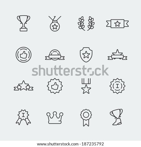 Vector awards mini icons set - stock vector