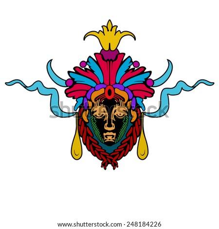 Vector Aztec mask - stock vector