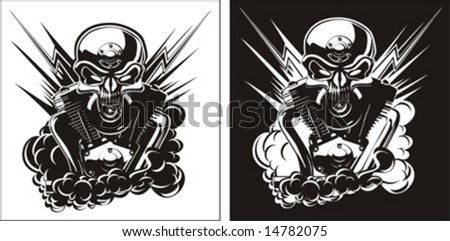 Vector b&w detailed skull with engine set. Only two objects. - stock vector