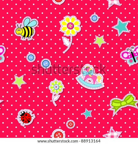 Vector baby background in pink - stock vector