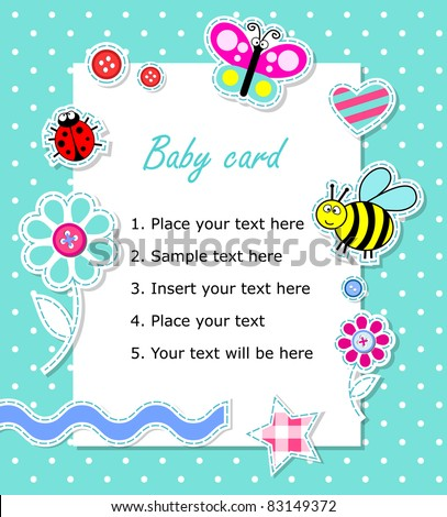 Vector baby boy card with scrapbook elements