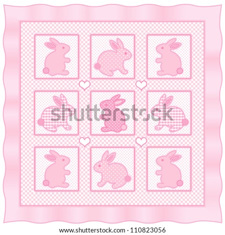 vector - Baby Bunny Rabbits Quilt.  Vintage nursery design pattern in pastel pink and white check gingham, polka dots, satin frame border.  EPS8 compatible. - stock vector